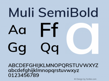 Muli SemiBold Version 2.000图片样张