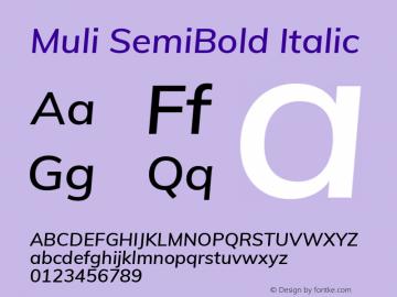 Muli SemiBold Italic Version 2.000图片样张