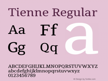 Tienne Regular Version 1.001图片样张