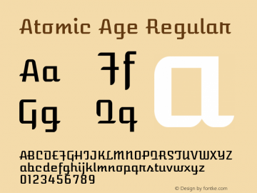 Atomic Age Regular Version 1.008; ttfautohint (v1.4.1) -l 6 -r 46 -G 0 -x 0 -H 200 -D latn -f none -m