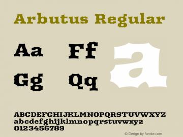 Arbutus Regular Version 1.003 Font Sample