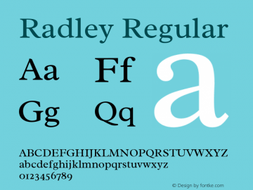 Radley Regular Version 1.003; ttfautohint (v1.6)图片样张
