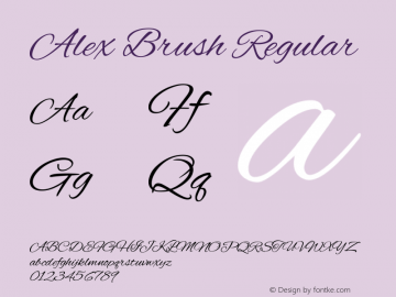 Alex Brush Regular Version 1.004图片样张