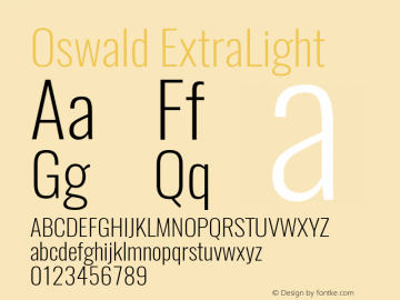 Oswald ExtraLight Version 4.001图片样张