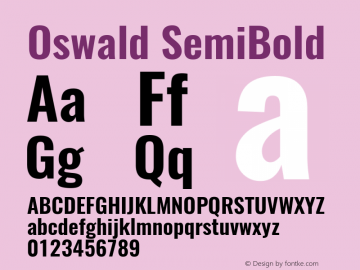 Oswald SemiBold Version 4.001图片样张
