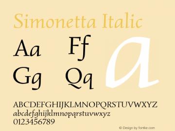 Simonetta Italic Version 1.003图片样张