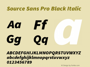 Source Sans Pro Black Italic Version 1.076;PS 2.000;hotconv 1.0.86;makeotf.lib2.5.63406图片样张