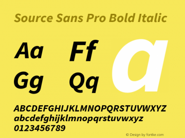 Source Sans Pro Bold Italic Version 1.076;PS 2.000;hotconv 1.0.86;makeotf.lib2.5.63406图片样张