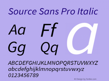 Source Sans Pro Italic Version 1.076;PS 2.000;hotconv 1.0.86;makeotf.lib2.5.63406图片样张