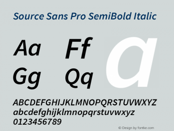 Source Sans Pro SemiBold Italic Version 1.076;PS 2.000;hotconv 1.0.86;makeotf.lib2.5.63406图片样张