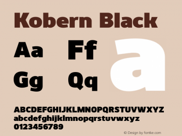 Kobern-Black Version 1.001;PS 001.001;hotconv 1.0.56;makeotf.lib2.0.21325图片样张