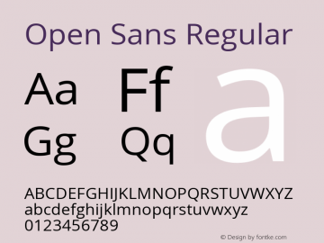 Open Sans Regular Version 1.10图片样张