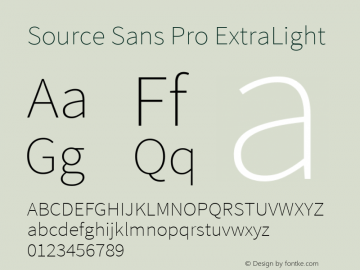 Source Sans Pro ExtraLight Version 1.050;PS Version 1.000;hotconv 1.0.70;makeotf.lib2.5.5900图片样张
