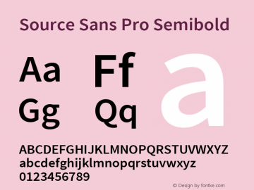 Source Sans Pro Semibold Version 1.050;PS Version 1.000;hotconv 1.0.70;makeotf.lib2.5.5900图片样张