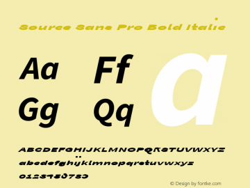 Source Sans Pro Bold Italic Version 1.038;PS Version 1.000;hotconv 1.0.70;makeotf.lib2.5.5900图片样张