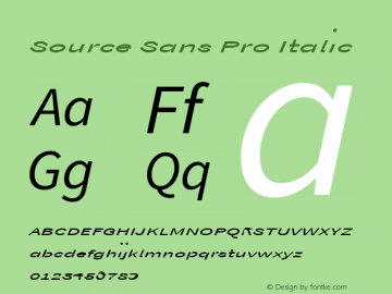 Source Sans Pro Italic Version 1.038;PS Version 1.000;hotconv 1.0.70;makeotf.lib2.5.5900图片样张