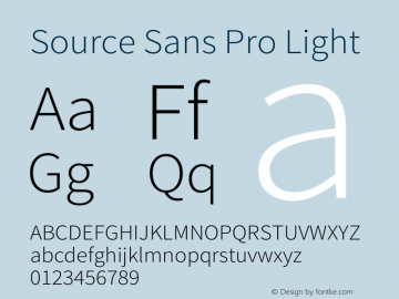 Source Sans Pro Light Regular Version 1.038;PS 1.000;hotconv 1.0.70;makeotf.lib2.5.5900图片样张