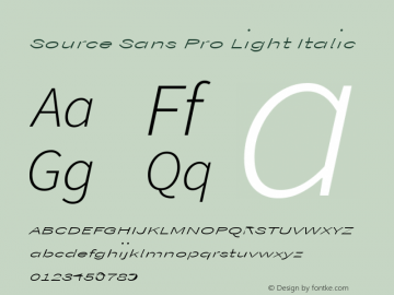 Source Sans Pro Light Italic Version 1.038;PS Version 1.000;hotconv 1.0.70;makeotf.lib2.5.5900图片样张
