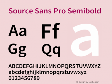 Source Sans Pro Semibold Regular Version 1.038;PS 1.000;hotconv 1.0.70;makeotf.lib2.5.5900图片样张