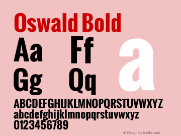 Oswald Bold Version 1.000图片样张