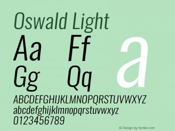 Oswald LightItalic 3.0图片样张