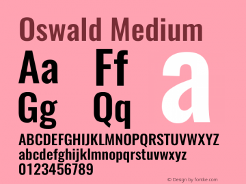 Oswald Medium 3.0图片样张
