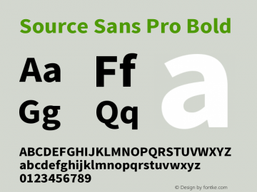 Source Sans Pro Bold Version 1.050;PS 1.000;hotconv 1.0.70;makeotf.lib2.5.5900图片样张
