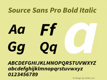 Source Sans Pro Bold Italic Version 1.050;PS 1.000;hotconv 1.0.70;makeotf.lib2.5.5900图片样张