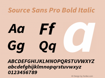Source Sans Pro Bold Italic Version 1.050;PS Version 1.000;hotconv 1.0.70;makeotf.lib2.5.5900图片样张
