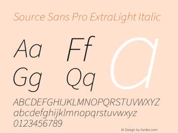Source Sans Pro ExtraLight Italic Version 1.050;PS 1.000;hotconv 1.0.70;makeotf.lib2.5.5900图片样张