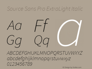 Source Sans Pro ExtraLight Italic Version 1.050;PS Version 1.000;hotconv 1.0.70;makeotf.lib2.5.5900图片样张
