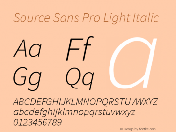 Source Sans Pro Light Italic Version 1.050;PS Version 1.000;hotconv 1.0.70;makeotf.lib2.5.5900图片样张