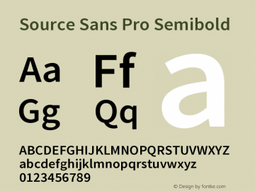 Source Sans Pro Semibold Version 1.050;PS 1.000;hotconv 1.0.70;makeotf.lib2.5.5900图片样张