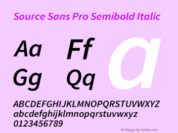 Source Sans Pro Semibold Italic Version 1.050;PS 1.000;hotconv 1.0.70;makeotf.lib2.5.5900图片样张