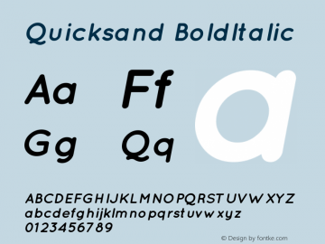 Quicksand Bold Italic Version 001.001图片样张