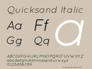 Quicksand Italic Version 001.001图片样张