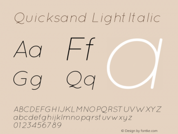 Quicksand Light Italic Version 001.001图片样张