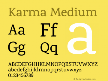 Karma Medium Version 1.202;PS 1.0;hotconv 1.0.78;makeotf.lib2.5.61930; ttfautohint (v1.1) -l 7 -r 28 -G 50 -x 13 -D latn -f deva -w G图片样张