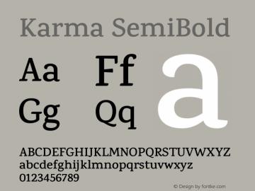 Karma SemiBold Version 1.202;PS 1.0;hotconv 1.0.78;makeotf.lib2.5.61930; ttfautohint (v1.1) -l 7 -r 28 -G 50 -x 13 -D latn -f deva -w G图片样张