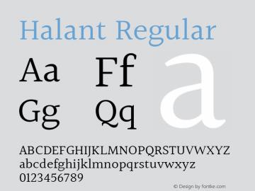 Halant Regular Version 1.101;PS 1.0;hotconv 1.0.78;makeotf.lib2.5.61930; ttfautohint (v1.1) -l 8 -r 50 -G 200 -x 14 -D latn -f deva -w gGD -W -c图片样张