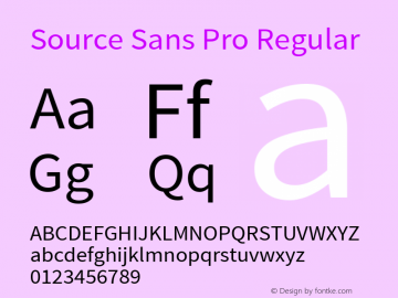 Source Sans Pro Regular Version 1.050;PS 1.000;hotconv 1.0.70;makeotf.lib2.5.5900图片样张