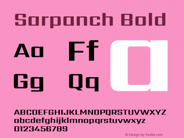 Sarpanch Bold Version 2.004;PS 1.0;hotconv 1.0.78;makeotf.lib2.5.61930; ttfautohint (v1.1) -l 8 -r 50 -G 200 -x 14 -D latn -f deva -w gGD -W -c图片样张