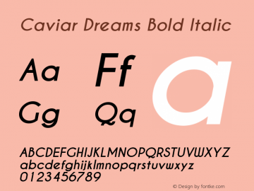 Caviar Dreams Bold Italic Version 4.00 July 10, 2012图片样张