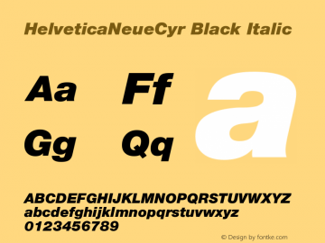 HelveticaNeueCyr-BlackItalic 001.000图片样张