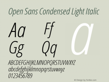 Open Sans Condensed Light Italic Version 1.10图片样张