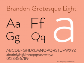 Brandon Grotesque Light Regular Version 001.000图片样张
