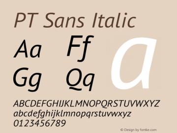 PT Sans Italic Version 2.003图片样张
