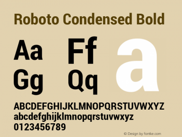 Roboto Condensed Bold Version 1.100138; 2012图片样张