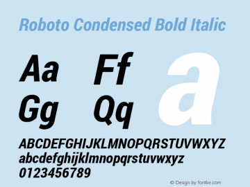 Roboto Condensed Bold Italic Version 1.100138; 2012图片样张