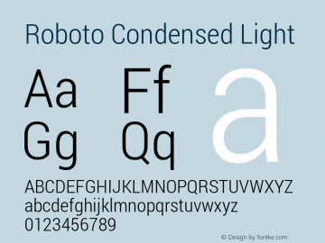 Roboto Condensed Light Version 1.100138; 2012图片样张